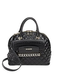 Love Moschino Quilted Faux Leather Satchel Black