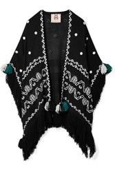 Figue Corazon Fringed Embroidered Wool Wrap Black