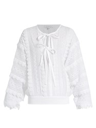 Andrew Gn Lace Trimmed Tie Neck Cotton Blouse White