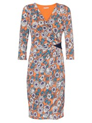 Gina Bacconi Flower Print Jersey Dress With Sequin Orange