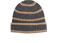Alex Mill Men's Striped Chunky Rib Knit Cashmere Beanie Dark Grey Tan Light Grey Dark Grey Tan Light Grey