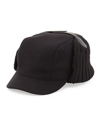 Prada Wool Knit Trapper Hat Black