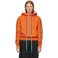 Off White Orange And Black Abstract Arrows Slim Hoodie
