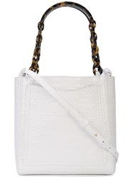 Edie Parker Chain Clutch Bag White