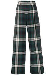 Semicouture High Waisted Check Trousers Green