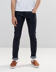 Pull And Bear Pullandbear Slim Fit Selvedge Jeans In Dark Wash Blue Blue