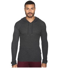 John Varvatos Waffle Stitch Long Sleeve Drop Shoulder Pullover Hoodie Sweater Y1471s4b Graphite Men's Sweater Gray