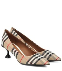 Burberry Lillyton Checked Canvas Pumps Beige