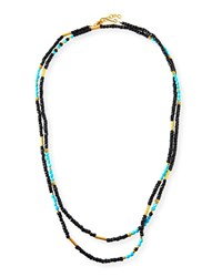 Dina Mackney Sleeping Beauty Turquoise And Onyx Beaded Necklace Blue