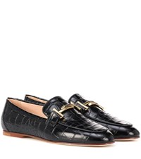 Tod's Croc Embossed Leather Loafers Black