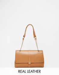 Modalu Leather Flap Over Shoulder Bag Carameltan