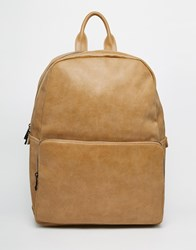 Asos Backpack In Camel Faux Leather Tan