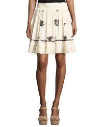 Derek Lam Embroidered Silk Mini Skirt Cream