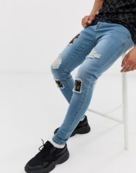 Sik Silk Siksilk Super Skinny Jeans With Baroque Rips In Light Wash Blue
