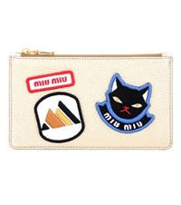 Miu Miu Appliqued Leather Pouch Gold