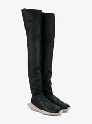 Rick Owens 'Tech Runner' Leather Thigh High Boots Black Taupe Denim