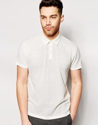 Peter Werth Knitted Textured Polo Shirt White