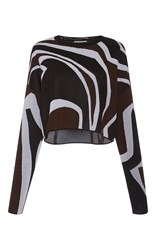 Emilio Pucci Long Sleeve Oversized Crew Neck Top Multi