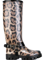 Dolce And Gabbana Leopard Print Rain Boots Nude And Neutrals