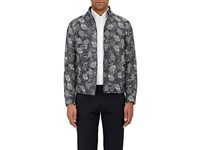 Montedoro Men's Floral Twill Jacket Navy White Blue