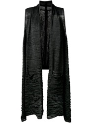 Forme D'expression Crinkled Effect Long Vest Black