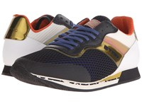 Etro Mesh Overlay Leather Runner Sneaker White Blue Gold Men's Lace Up Casual Shoes