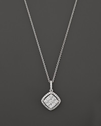 Roberto Coin 18K White Gold Diamond Square Drop Pendant Necklace 18