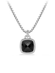 David Yurman Albion Pendant With Diamonds Silver Black Onyx