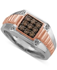 Macy's Men's Diamond Two Tone Ring 1 2 Ct. T.W. In 10K White And Rose Gold Brown
