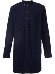 Engineered Garments Long Banded Collar Shirt Blue
