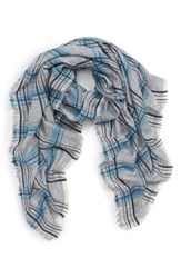 Sole Society Plaid Wool Blend Scarf Grey Combo