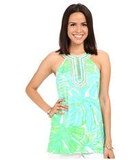 Lilly Pulitzer Adelina Tunic Green Sheen Fronds Place Women's Clothing
