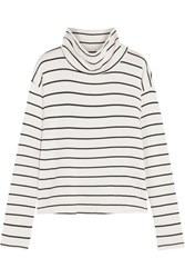Splendid Striped Stretch Modal Terry Turtleneck Top White