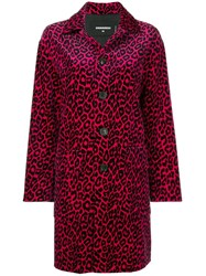 Dsquared2 Leopard Print Trench Coat Pink