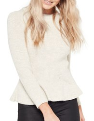 Miss Selfridge Solid Ribbed Long Sleeve Top Cream