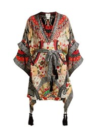 Camilla Belted Floral Print Silk Kimono Dress Red Multi