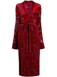 Ann Demeulemeester Floral Jacquard Wrap Dress Red