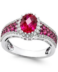 Macy's Ruby 2 1 2 Ct. T.W. And Diamond 3 8 Ct. T.W. Ring In 14K White Gold Red