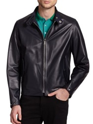 Burberry Ramshaw Leather Bomber Jacket Navy