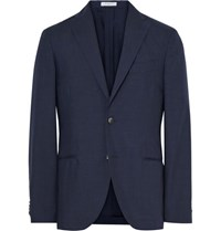 Boglioli Blue K Jacket Slim Fit Wool And Mohair Blend Blazer Navy