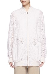 Stella Mccartney 'Simone' Embroidered Rebrode Lace Bomber Jacket White