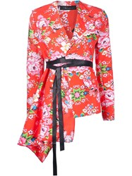 Area Di Barbara Bologna Asymmetric Flower Pattern 'Metal Bon Bon' Kimono Jacket Red