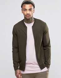 Asos Muscle Fit Jersey Bomber Jacket In Khaki Hunter Green