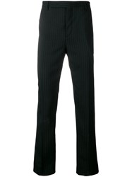Saint Laurent Striped Tailored Trousers Black