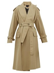 Proenza Schouler Detachable Lapel Wool Blend Trench Coat Beige