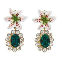 Dolce And Gabbana White Crystal Lily Earrings
