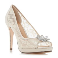 Linea Darlia Jewelled Flower Trim Court Shoe Nude
