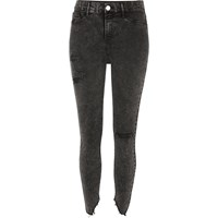 River Island Womens Black Acid Wash Ripped Skinny Molly Jeggings