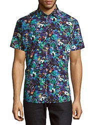 Jared Lang Casual Button Down Floral Print Cotton Shirt Blue Multi