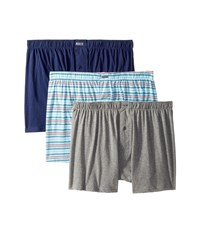 Kenneth Cole Reaction 3 Pack Knit Boxer Light Grey Heather Aqua Moustaches White Skinny Stripes Underwear Multi